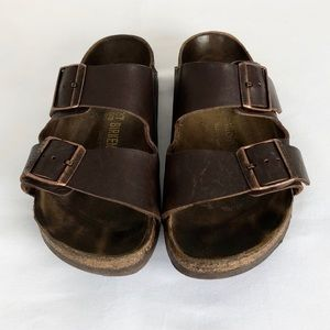 Birkenstock Sandals, Brown Leather, Size 37